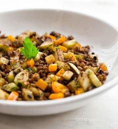 Skillet-Popped Lentils.  - would use fresh cooked lentils but otherwise looks good