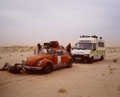 VW Beetle on the Plymouth-Banjul rally, taking a break in Mauritania