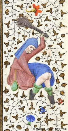 Man wearing headgear, with pouch hanging at waist, crouching, raises withes over bare hindquarters of another man, bent over, head not visible | Book of Hours | France, Paris | ca. 1425-1430 | The Morgan Library & Museum
