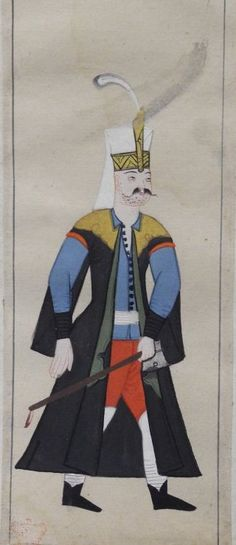 "28v A Seferli, a Janissary on campaign. Carries an axe and wears a black kaftan with yellow shoulder pieces, pale blue tunic, red trousers, white leg protectors, black shoes. Janissary head-dress with aplume in the plume-holder.  Peter Mundy's Album, ""A briefe relation of the Turckes, their kings, Emperors, or Grandsigneurs, their conquests, religion, customes, habbits, etc""  Istanbul 1618"