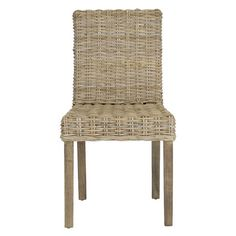 Set of two woven rattan side chairs with mango wood frames.  Product: Set of 2 side chairsConstruction Material: