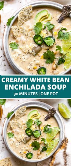 Creamy White Bean Enchilada Soup with green chiles and corn is the ultimate 30 minute vegetarian soup. Freezer-friendly and great for meal prep or easy weeknight dinner. Healthy Soup Recipes, Chili Recipes, Kid Recipes, Vegetable Recipes, Chicken Recipes, White Bean Soup, White Beans, Mexican Soup Vegetarian, Vegetarian Kids