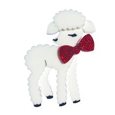 Peppy Chapette - Lacey Lamb (Plain White with Red Glitter Bow) Red Glitter, Animal Jewelry, Lambs, Brooches, Bows, My Style, Dress, Life, Animals