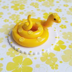 Lemon Snake. Handmade from Polymer Clay by The Clay Kiosk on Etsy.