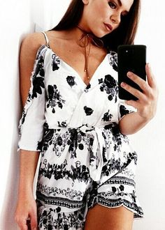 #summer #outfits  White Printed Cold Shoulder Romper 🙋🌴🌸