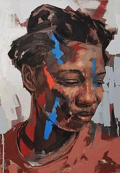Lionel Smit (South African, b. 1982), acrylic on canvas {contemporary figurative #expressionist art female head black woman face portrait grunge painting #loveart} lionelsmit.co.za