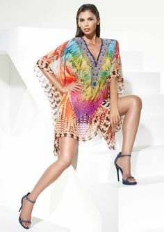 RIO - Multi-coloured Carnival Inspired Feather Print Tunic