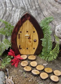 """Fairy Door, Gnome Door, Hobbit Door, Elf Door, Troll Door, Miniature Garden Fae Door, 7"""" tall Forest style."""