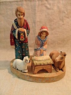 UNIQUE RUSSIAN NATIVITY SET * MARY JOSEPH JESUS LAMB COW * HAND CARVED & PAINTED | eBay