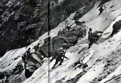 Alpini all'attacco del Passo Paradiso.  Dalla rivista L'Illustrazione italiana, 16 giugno 1918.