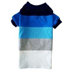 Camiseta para Cachorro Polo Piquet Listrada Azul Dog & Home - MeuAmigoPet…