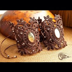 Brown macrame bracelets with labordorite cabs