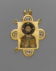 This pendant is one of the most beautiful and technically accomplished personal devotional objects to survive from Byzantium. On one side Christ Pantokrator (Ruler of All) blesses the viewer with his right hand and holds the Gospel book in his left