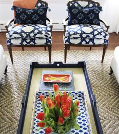 Coffee Table Ideas | Bamboo Navy Tray and Leopard Orange Tray with Upholstered Armchairs