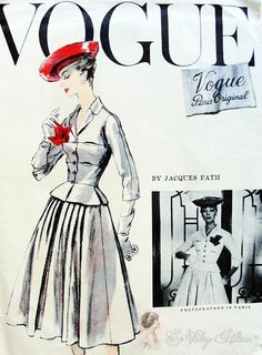RARE Jacques Fath 1950s Suit Pattern Beautiful Fitted Jacket Nip In Waist, Flattering Full Skirt Vogue Paris Original Couture 1336 Vintage S...