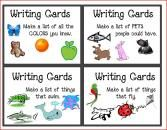 """Another pinner said """"I use these writing cards with my first grade class as a Work on Writing activity during our Daily 5 rotations. The first time I introduce it, I . Daily 5 Writing, First Grade Writing, Work On Writing, Writing Lessons, Writing Prompts, Writing Ideas, Writing Lists, Pre Writing, Kids Writing"""