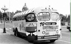 Twilight Tour Bus, from Victoria Harbour to Butchart Gardens, c1960, British Columbia, Canada.