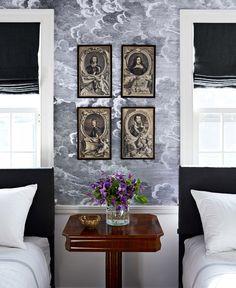 Headboards and shades in de Le Cuona's Desert Cloth linen. Trim in Benjamin Moore's White Dove.   - HouseBeautiful.com