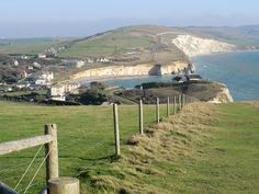 Freshwater Bay and Afton Down from Tennyson Down, Isle of Wight, UK