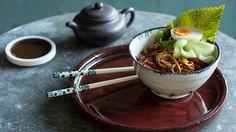 Spicy Korean noodles with cucumber and egg  recipe (bibim guksu)