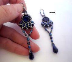 Náušnice - Tmavomodrý svet III. - 5026618_ Long Tassel Earrings, Small Earrings, Circle Earrings, Women's Earrings, Ear Jewelry, Seed Bead Jewelry, Jewelry Making, Jewellery, Beaded Jewelry Patterns