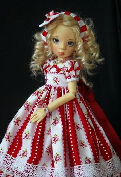 "Roses & Hearts~ OOAK Outfit for 18"" Kaye Wiggs BJD Layla, Hope ~ Glorias Garden"