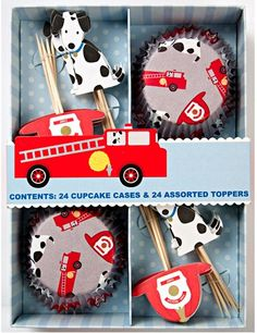fire truck cupcake kit by meri meri Fireman Party, Firefighter Birthday, Fireman Room, Fire Truck Cupcakes, Fire Cake, Cupcake Decorating Supplies, Cupcake Decorations, Cupcake Supplies, 4th Birthday Parties