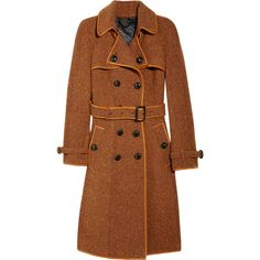 Burberry Prorsum Wool tweed trench coat ❤ liked on Polyvore