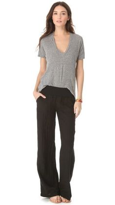 SOLOW Fold Over Linen Pants