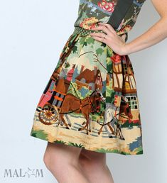 WINTER SALE Woodland skirt - Upcycled vintage canvas - Short pleated skirt - Fall colors