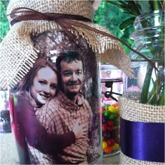 So cute! Put your photos in the mason jar for decorations. great wedding idea.