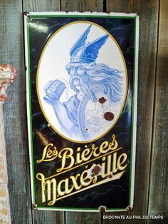 Brocante Décoration Un Nouveau Monde: Plaque émaillée Les Bières Maxéville