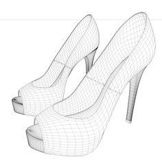 cinema4d red heel peep toe shoes