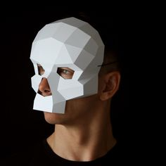 Skull mask - Papercraft masks by Ntanos Low Poly Mask, Day Of The Dead Mask, Mask Template, Paper Mask, Skull Mask, Cosplay Diy, Animal Masks, Hans Christian, Mask Party