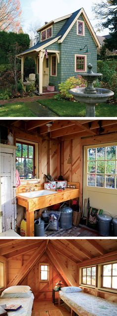 Small House and Shed Plans you don't want to miss! Small House and Shed Plans … Shed Landscaping, Backyard Sheds, Backyard Retreat, Outdoor Sheds, Small Shed Plans, Small Sheds, Diy Shed Plans, Lofts, Prefabricated Sheds
