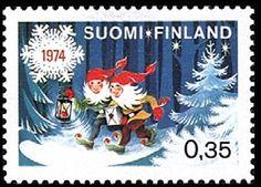 Joulupostimerkki 1974 - Tontut  lahjoineen metsässä - Christmas stamp 1974 Finland