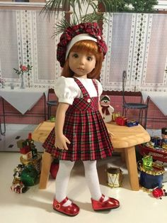 """""""Holiday Plaid"""" Made for 13"""" Effner Little Darling by Treasured Doll Designs"""