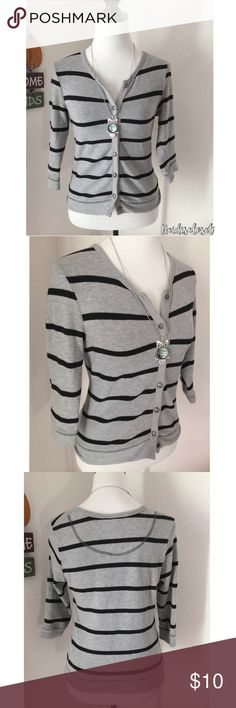 | Full Tilt | Medium Grey Soft over Coat. Woman's stripe medium grey over coat. Very soft with buttons going down. Stretchy material. Style and brand is by Full Tilt. In very good condition.  Fast shipping. Bundle to save more. Thank you. Full Tilt Sweaters Cardigans