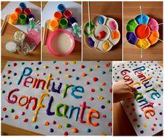 Puffy Peint - Recette Peinture gonflante au micro onde - enfant bébé loisir