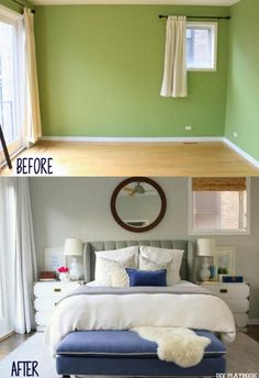 Sometimes all it takes is a few tweaks to make a room your own! Loving this master bedroom makeover. From bright green, to a calming oasis.