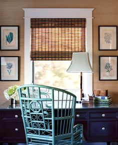 Turquoise is a wonderful accent to use with neutrals. In this home office designed by Waterleaf Interiors, a high-back Asian chair in bright turquoise works beautifully with tan grass cloth walls and a bamboo blind.