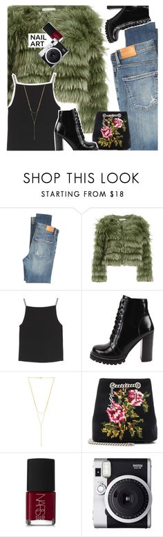 """""""Nail Art"""" by glittergirlxy ❤ liked on Polyvore featuring Citizens of Humanity, Alice + Olivia, T By Alexander Wang, Jeffrey Campbell, Gorjana, Yves Saint Laurent, NARS Cosmetics, Fuji, Winter and red"""