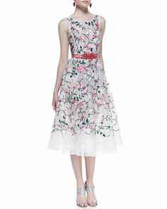 Oscar de la Renta Sleeveless Floral Embroidered Dress & Satin Leaf-Buckle Belt - Neiman Marcus