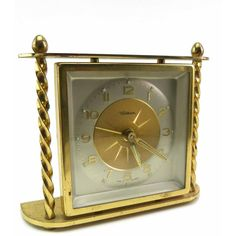 Waltham Small Mantel or Desk Brass Alarm Clock Made in Germany Mid... ($43) ❤ liked on Polyvore featuring home, home decor and clocks
