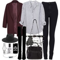 Outfit with a striped shirt and blazer by ferned on Polyvore featuring Xirena, Topshop, Stuart Weitzman, Alexander Wang, Burberry, Monica Vinader, rag & bone, Casetify and Nirvanna Designs