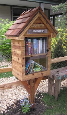 Building community by building small libraries. Love these small libraries!