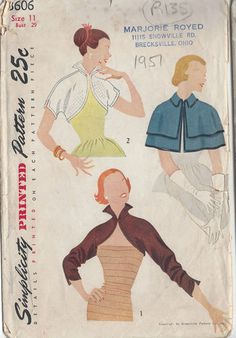 1951 Vintage Sewing Pattern Cape  I would love a little evening cape like that.