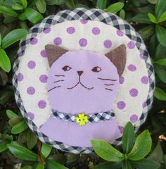 FREE shipping handmade cat quilt applique fabric wallet by Khanoon