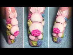 Easter Nail Designs, Easter Nail Art, Christmas Nail Art Designs, 3d Acrylic Nails, 3d Nails, Nail Art Designs Videos, Nail Art Videos, Secret Nails, Curved Nails