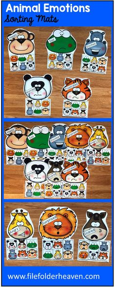These Animals Emotions Sorting Activities offer a fun and hands-on way for students to work on and review, identifying emotions. This set includes 8 unique mats: Monkey, Frog, Hippo, Lion, Giraffe, Panda, Horse, Tiger. At an independent workstation, center or language group, students complete the following sorting and classification activities.  Sorting Happy Sorting Sad Sorting Excited Sorting Surprised Sorting Angry Sorting Worried Sorting Scared Sorting Frustrated